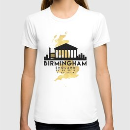 BIRMINGHAM ENGLAND SILHOUETTE SKYLINE MAP ART T-shirt
