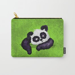 Cute Painted Panda Bear on green Carry-All Pouch