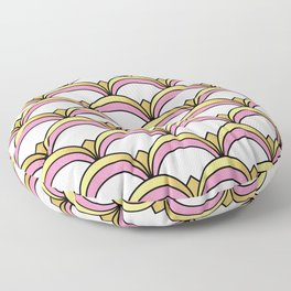 Pink and Gold Art Deco Pattern Floor Pillow