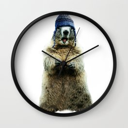 Wooly Marmot by Crow Creek Coolture Wall Clock