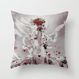Skeleton Bride Throw Pillow