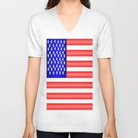 american flag V-neck T-shirts featuring American Flag by Justbyjulie