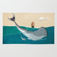 the whale Area & Throw Rugs featuring Whale by mark ashkenazi
