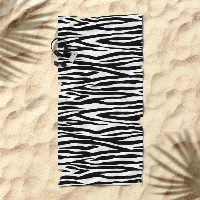 Zebra StripesPattern Black And White Beach Towel