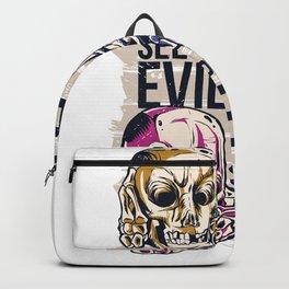 Hear no Evil Skull Design - Skull Tattoo Design Backpack