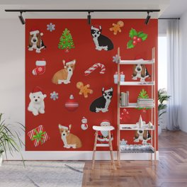 Christmas puppies  pattern decor.Dog lover decor Wall Mural