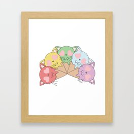 Kitty Ice Cream Rainbow Framed Art Print