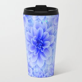 BLUE-WHITE DAHLIA FLOWERS IN  TEAL COLOR Travel Mug