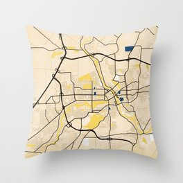 Sherbrooke Yellow City Map Throw Pillow
