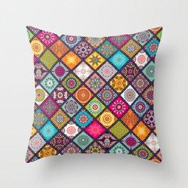 Mandala Patch Throw Pillow