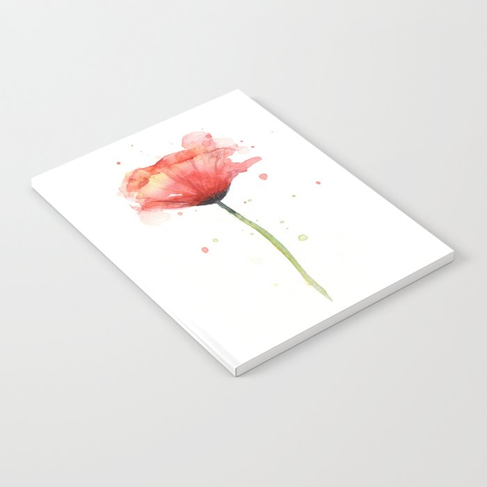 Red Poppy Watercolor Flower Floral Notebook