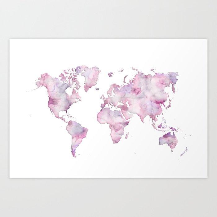 Watercolor world map world map wall art world map poster pink world map watercolor wallpaper large world map watercolor map purple map