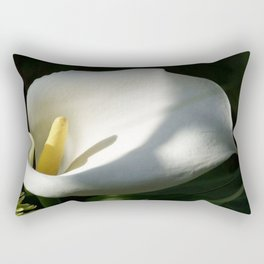 White Calla Lilies Over Black Background In Soft Focus Rectangular Pillow