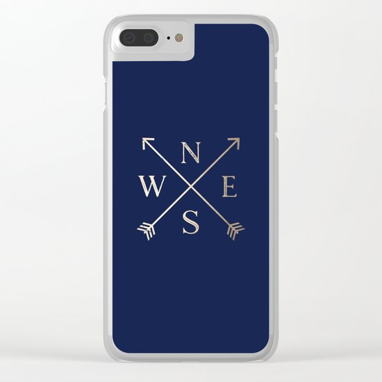 Gold on Navy Blue Compass Clear iPhone Case