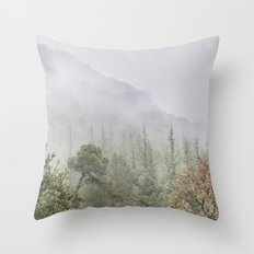Into the deep forest. Foggy morning Throw Pillow