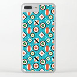 Delicious Pixel Sushi on turquoise background Clear iPhone Case