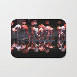 Flamingos, using an oil painting filter Bath Mat
