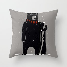 Bear on snowboard Throw Pillow