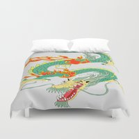 chinese Duvet Covers featuring Chinese Dragon by J&C Creations