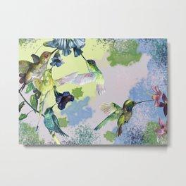 Hummingbirds in spring Metal Print