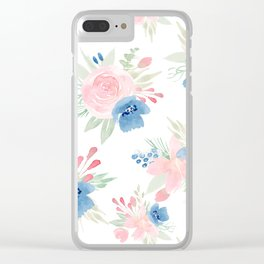 Blush Pink and Navy Watercolor Florals Clear iPhone Case