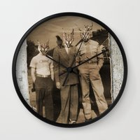 blues brothers Wall Clocks featuring brothers by Seamless