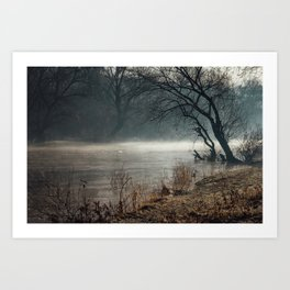Morning fog, river and sunrise Art Print