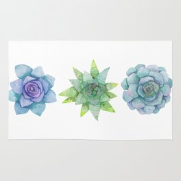 Watercolor Succulents No.2 Rug