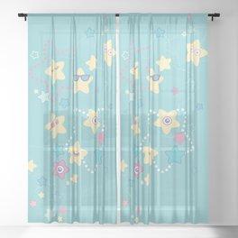 Cute Pastel Stars Sheer Curtain