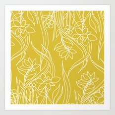 Floral Drawing in Yellow Art Print