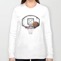 basketball Long Sleeve T-shirts featuring basketball by Penfishh