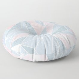 Cool blue/grey and pink geometric prism pattern Floor Pillow