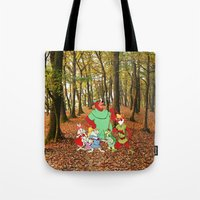 robin hood Tote Bags featuring Robin Hood and the Gang by foreverwars