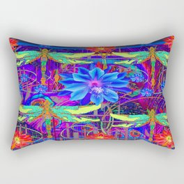 Colorful Dragonfly Tropical Flowers Red-Blue Patterns Rectangular Pillow