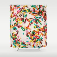 sprinkles Shower Curtains featuring Sprinkles  by Laura Ruth