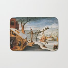 Abel Grimmer, Flemish, active 1592-1619 Winter Landscape with the Angel Appearing to Saint Jos Bath Mat