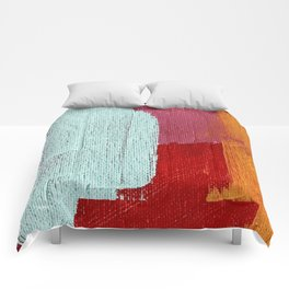 Desert Daydreams [2]: a vibrant, colorful abstract acrylic piece in pink, red, orange, and blue Comforters