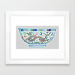 Blue Chinese Chinoiserie Pottery Watercolor Series,  No 2a by Adam Asar Framed Art Print