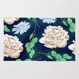 Rose Garden Navy Blue Antique Floral Pattern Rug