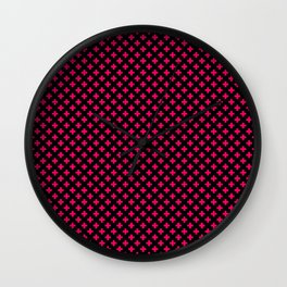 Small Hot Neon Pink Crosses on Black Wall Clock