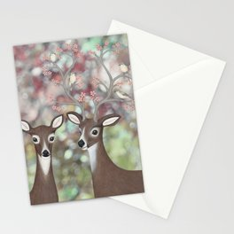 white tailed deer, warbling vireos, & cherry blossoms Stationery Cards