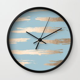 Abstract Paint Stripes Gold Tropical Ocean Sea Blue Wall Clock