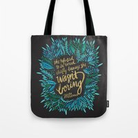 fitzgerald Tote Bags featuring Zelda Fitzgerald – Blue on Black by Cat Coquillette