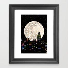 The Flower of Life Moon Framed Art Print