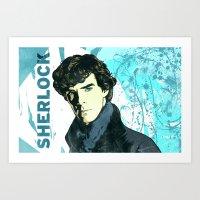 sherlock holmes Art Prints featuring Sherlock Holmes by illustratemyphoto