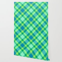 Mid-Century Modern Plaid, Jade Green, Turquoise and Blue Wallpaper