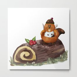 Yule Log Metal Print