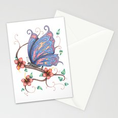 Butterfly and Flowers Stationery Cards