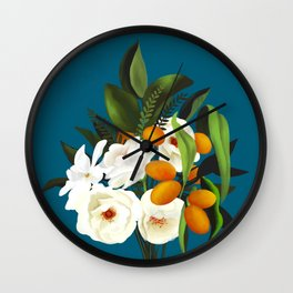 White Oranges Bouquet Wall Clock