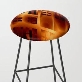 Abstract 379 Orange Geometric Windows Bar Stool